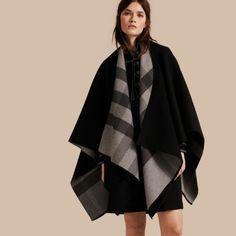Reversible Check Merino Wool Poncho