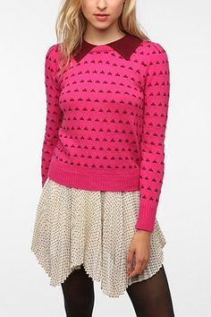 Lucca Couture Puff Sleeve Collard Pullover Sweater