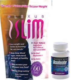 Plexus Slim and Accelerator Combo Pack. Burns fat not muscle. No diet no meal plan no counting calories no stimulants no shakes. That's a lot of No! Visit my website www.plexuscrystals.com