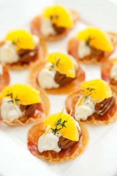 Pancetta Crisps with Goats Cheese, Oranges, Pecans and Thyme / @DJ Foodie / DJFoodie.com