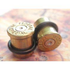 Bullet ear plugs 357 Magnum Bullet Plug Earrings Bullet Shell u pick... ❤ liked on Polyvore featuring jewelry, earrings, bullet earrings, gold silver earrings, bullet jewelry, silver shell earrings and gold seashell earrings
