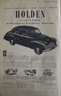 Original adverting for the 1948 Holden sedan in The Bulletin - December 1948 Vintage Advertisements, Vintage Ads, Vintage Posters, Australian Vintage, Australian Cars, Holden Australia, Photo Search, Pinterest Photos, General Motors