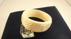 60s Cream Molded Panels Lucite Plastic Bracelet by LoukiesWorld on Etsy
