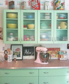 Vintage Kitchen - love the glass upper cabinets, and the counter top!  and that color!  okay, I love it all!