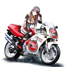 My two favourite things Anime Motorcycle, Japanese Motorcycle, Bike Photoshoot, Bike Illustration, Motorbike Girl, Car Drawings, Bike Art, Automotive Art, Biker Girl