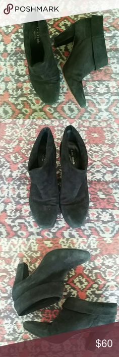 """Kate Spade Black Suede Booties Size 9M Adorable Kate Spade slip on suede booties.  Pre-loved. Wearable condition. Still has a lot of life left. Please see all pictures. Actual black color is darker than what my pics show.  3"""" heel kate spade Shoes Ankle Boots & Booties"""