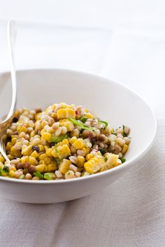 Fregula with Summer Corn by Mario Batali Good Healthy Recipes, Lunch Recipes, Salad Recipes, Vegetarian Recipes, Cooking Recipes, Mario Batali, Mac And Cheese, Recipe Box, Pasta Salad