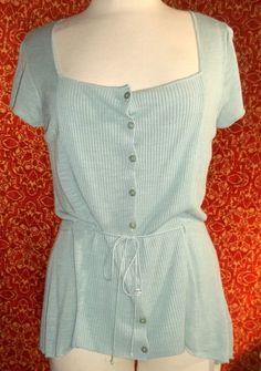 NWT ALFANI soft rayon blend sea foam green cap sleeve tunic blouse M (T17X3B7G) #Alfani #Blouse #Casual