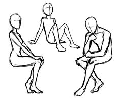 Manga Poses -  a drawing guide for sitting and standing.                                                                                                                                                                                 More