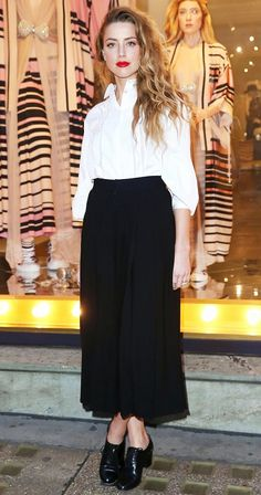 Amber Heard wore a white button-up blouse tucked into a black maxi skirt with black heeled oxfords and a red lip.