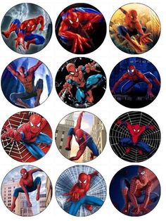 Edible Pictures For Spiderman Cake - Yahoo Image Search Results Bottle Cap Art, Bottle Cap Images, Spiderman Cupcake Toppers, Fête Spider Man, Spiderman Theme, Spiderman Stickers, Spiderman Images, Super Hero Shirts, Edible Printing