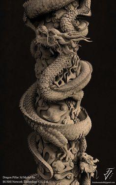 Dragon Pillar, Fredo Viktor on ArtStation at https://www.artstation.com/artwork/e3qEw