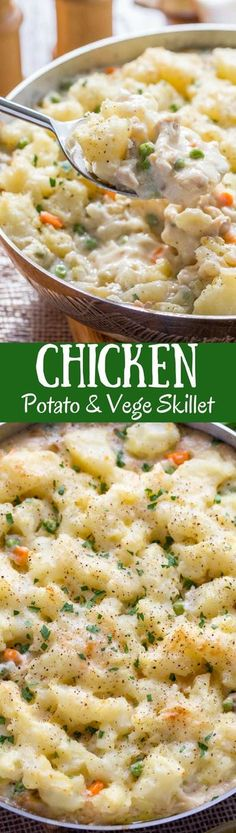 Skillet Chicken with Potatoes & Vegetables ~ comfort at it's best! A creamy sauce that reminds me of a pot pie with tender vegetables, and chunks of chicken topped with fluffy potatoes just like Shepherd's Pie! www.savingdessert.com #savingroomfordessert #skilletchicken #chickenpotatoes #oneskillet