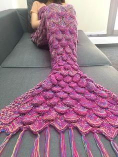 Mermaid Tail Sofa Blanket Super Soft Warm Hand Crocheted Knitting Wool For Adult | eBay