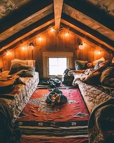 A cozy cabin bedroom in the forest. Attic Bedrooms, Cabin Bedrooms, Hippie Bedrooms, A Frame House, Cabins And Cottages, Log Cabins, Cozy Cabin, Cabin Loft, Small Log Cabin