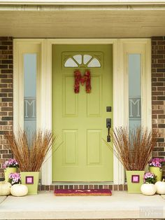 Mark your front door with a leafy monogram. Paint a papier-mache letter and let dry. Hot-glue dried or silk leaves to the front. Shape a piece of wire into a hanging loop, and hot-glue it to the back of the letter.
