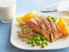 Honey Soy Grilled Salmon with Edamame and Brown Rice #myplate #letsmove #protein #dairy