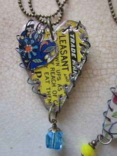 Tin Necklace Layered Hearts Graphics and Gardens by TheMadCutter