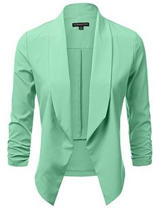 JJ Perfection Womens Lightweight Chiffon Ruched Sleeve OpenFront Blazer MINT L >>> Check this awesome product by going to the link at the image.Note:It is affiliate link to Amazon.