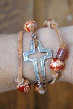 Wrapped Cross Bracelet Silver Cross Western by CrossCanyonCowgirl Cross Bracelets, Cross Jewelry, Silver Bracelets, Boho Jewelry, Jewelry Crafts, Jewelry Ideas, Beaded Jewelry, Jewelry Design, Precious Metal Clay