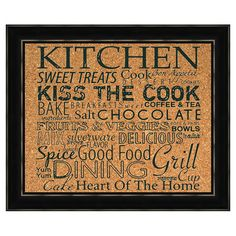 A whimsical addition to your kitchen or dining room, this framed corkboard features an eye-catching typographic motif.     Product: