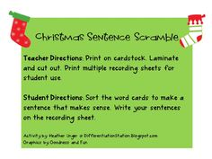 Differentiation Station: Free Christmas Sentence Scramble