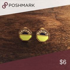 Enamel and rhineston post earrings Neon yellow, navy, and clear rhinestone post earrings. Perfect pop to any outfit! Jewelry Earrings