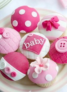 Cupcake Inspiration - Baby Shower, Girl, Bow, Flowers, Buttons, Pink