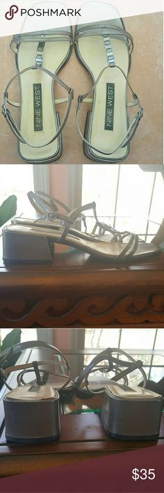 Nine West Sandals, Size 8 Nine West Sandals, Size 8, Worn No More Than Three Times. COLOR: Muted Grey. Heel Height: Approximately 1 3/4 (1.75) Inches. Nine West Shoes Sandals