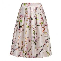 New Fshion Lady Womens Retro Style Floral Pattern Pleated Skirt Casual Party Swing Skirt