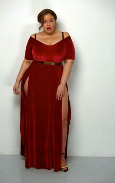"""hourglassandclass: """" Rum + Coke gorgeous red velvet dress Check out my blog for more curves and body positivity :) """""""