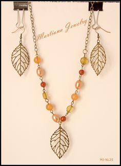 Earthly  - Brass colored necklace and ear dangles with leaves (set)  http://MartianaJewelry.etsy.com