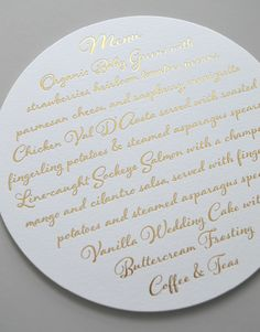 Kleinfeld Paper || Whimsical Charm Menu. Customize yours with Paper Passionista.