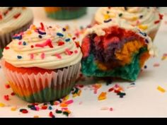 How to make Rainbow Cupcakes Recipe from scratch - I Heart Recipes