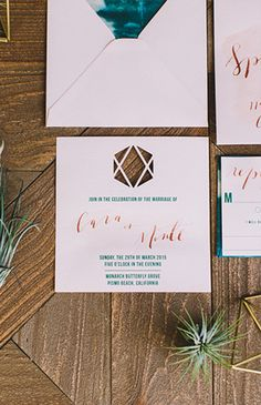 Simple yet colorful wedding stationary - turquoise and pink wedding stationary