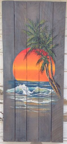 Wood Pallet Sign Ocean Sunset with Palm Tree by PalletPerspective