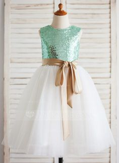 [AU$80.00] A-Line/Princess Tea-length Flower Girl Dress - Tulle/Sequined Sleeveless Scoop Neck With Sash
