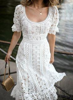 White lace dress —always pretty Day Dresses, Summer Dresses, Summer Outfit, Midi Dresses, Winter Dresses, Flower Dresses, Wedding Dresses, Mode Hippie, Plain Dress