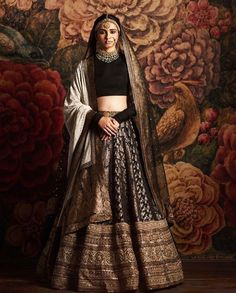 Sabyasachi 2016 bridal collection-Sabyasachi collection 2016 for brides and grooms black lehenga Indian Bridal Outfits, Indian Bridal Lehenga, Indian Bridal Wear, Indian Designer Outfits, Indian Dresses, Bridal Dresses, Indian Clothes, Indian Wear, Desi Clothes