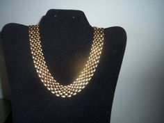 1980's Shiny Gold Tone Metal Link Wide Choker Necklace   Mint Condition