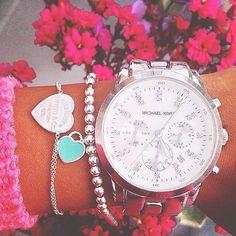 Michael Kors Watch + Tiffany's bracelets http://www.clearancemks.com/