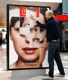"""Sort your head out - cool Ad! McDonalds has clearly placed it's logo beneath each one of the movable pieces stating that McDonald's is constantly on your mind."" #creative #marketing #engaging Guerrilla Marketing, Interactive Marketing, Street Marketing, Guerrilla Advertising, Interactive Media, Experiential Marketing, Viral Marketing, Mobile Marketing, Bus Stop Advertising"