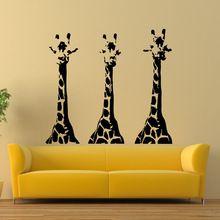 Giraffes Vinyl Wall Decal Giraffe Animals Jungle Safari African Animal Mural Art Wall Sticker Removeable Bedroom Home Decoration(China (Mainland))