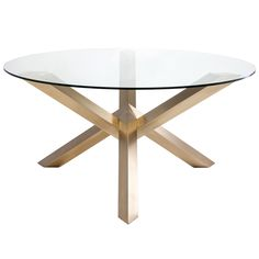 """Geometric intrigue marries edgy modernity in the design of Nuevo's Costa dining table. This glass topped furnishing rests on intersecting gold-finished stainless steel tripods. Wipe down with soft cloth and glass cleaner; 72"""" W x 29.5""""H"""