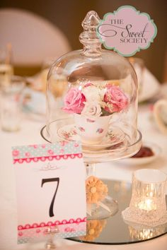 High Tea centerpiece for fundraiser, tea cup with roses, table numbers