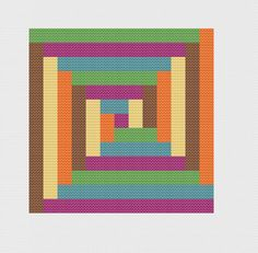 Modern Log Cabin  - Geometric Cross Stitch Pattern