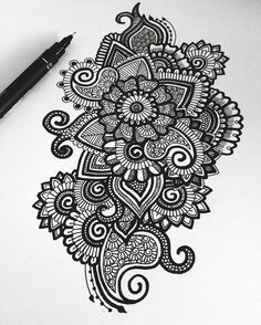 "Simran Savadia (@floral.art) on Instagram: ""Black and white doodle   Hope everyone is having an awesome day!❤️ -♡-…"""