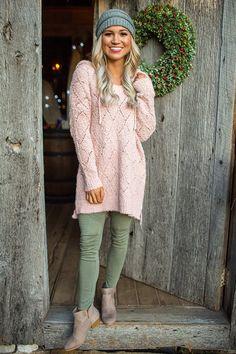 Autumn's Blush Tunic Sweater in Blush $42.00