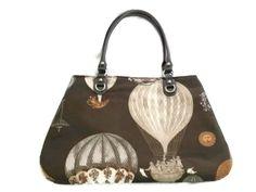 Hot Air Balloon Fabric Handbag Carpet Bag Brown Copper