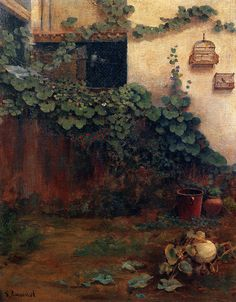 Santiago Rusiñol i Prats - was a post-impressionist Catalan painter and writer. Spanish Painters, Spanish Artists, Garden Painting, Painting & Drawing, Art Nouveau, Amazing Paintings, Environmental Art, Vintage Artwork, Landscape Paintings